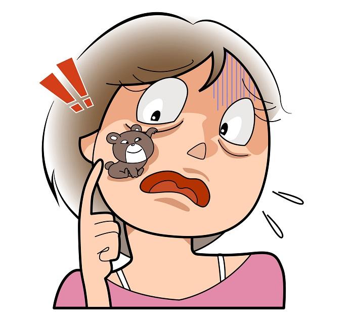 目の下のクマがひどくてびっくりしている女性のイラスト